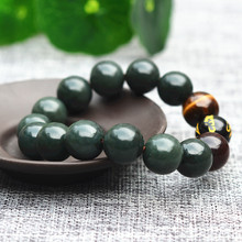 14mm Natural Green HETIAN Jades Stone Bracelets Tiger Eye Round Beads Bracelets Bangles Men Women Fahion Jades Stone Jewelry(China)