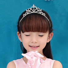 Cute Children Kids Girls Tiara Rhinestone Princess Hair Accessories Jewelry Party Bridal Hair Band Shiny Crown Headband(China)