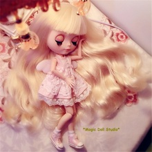 [NBL127]Free shipping Nude Blyth Doll with Light Gold Long Hair Rubber Face Suitable For DIY Doll For Girls(China)