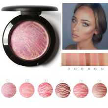 Focallure Top Quality Professional Cheek Blush 6 Colors Primer Makeup Baked Blush Bronzer Blusher With Brush drop shipping