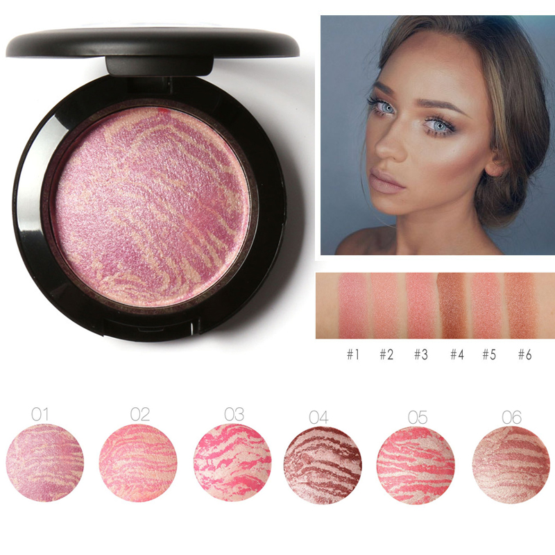 Focallure Top Quality Professional Cheek Blush 6 Colors Primer Makeup Baked Blush Bronzer Blusher With Brush drop shipping(China)