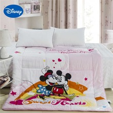 Sweet Heart Mickey Minnie Mouse Comforter Disney Cartoon Character Bedding Cotton Cover Girl's Quilt Single Twin Full Queen Pink