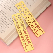 Buy Kawaii metal hollow straight ruler Number Letter pattern Bookmark DIY drawing template tool school stationery papelaria 06009 for $1.05 in AliExpress store