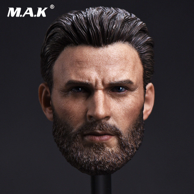 1:6 Scale Captain America Chris Evan Beard Version Head Carving for 12 inches Male Action Figure Body<br>