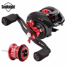 Seaknight 6.4:1 BaitCasting Fishing Reel 13+1BB ELF1200 Right Left Hand Carbon Fiber Two Brake Systems With Spare Shallow Spool