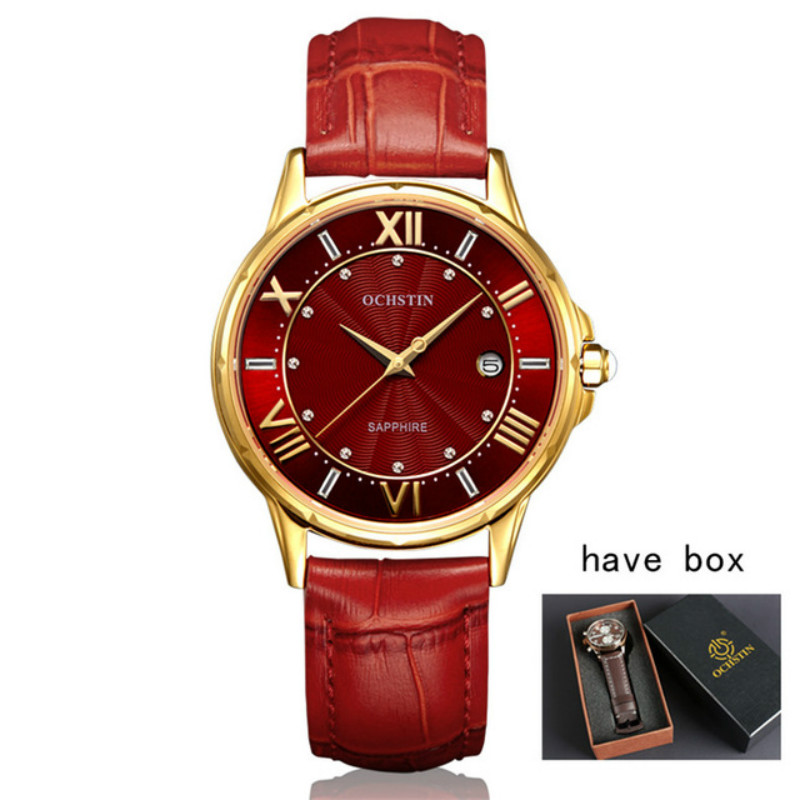 OCHSTIN Top Brand Women Watches Diamond Genuine Leather Calendar Waterproof Quartz-Watch Relojes Mujer 2018 Marca De Lujo Clock<br>