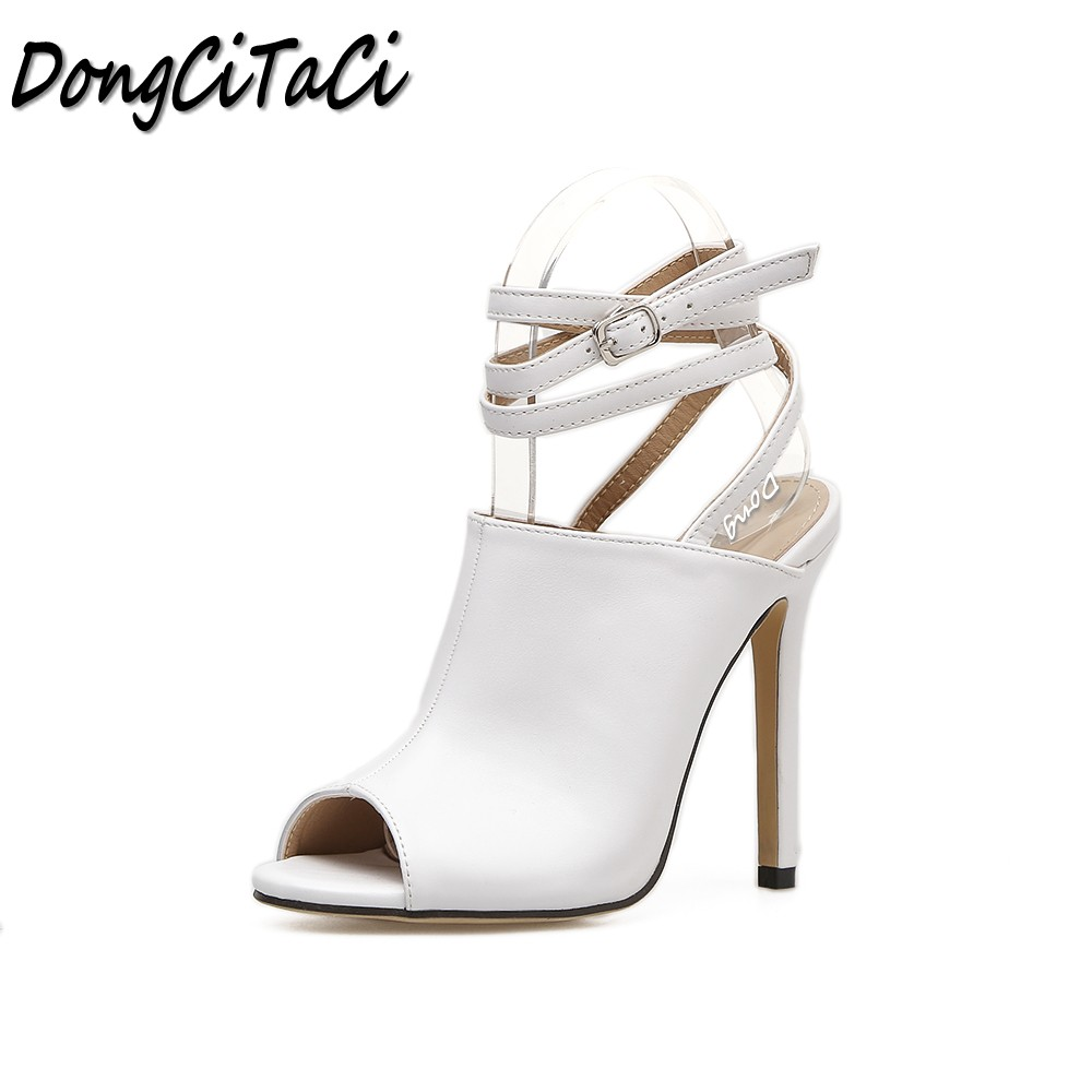 DongCiTaCi Summer Women Open toe High heels Sandals Shoes Woman Pumps Ladies fashion Party Wedding sexy Cross-tied pu Sandals<br>