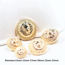 Free shipping, 20PC diameter of 13mm-25mm gold lion metal buttons, clothing accessories, shirt, coat brand buttons, 258(China)