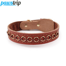 3 Size Cow Leather Dog Collar Lead Circle Spiked Pet Dog Collar For Large Dogs 2.5/3.0/3.5cm Width(China)