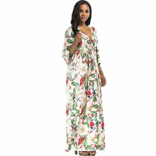YJSFG HOUSE Ladies Casual Loose Tunic Long Maxi Office Dress Sexy 2017 Autumn V Neck Floral Printed Evening  Party Dresses Robe