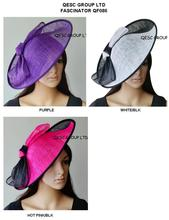 NEW Large Sinamay Hat Fascinator with BIG sinamay bow,diameter 39cm.can pick color,black/white,hot pink/black,purple. FREE SHIPP(China)