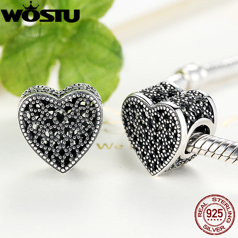 New Arrival Real 925 Sterling Silver Filled with Romance Rose Heart Charm Beads Fit Original Brand Bracelet Authentic Jewelry