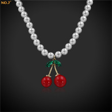 Cute 45CM Bead Chain Cherry Pendant Necklace For Women Vintage Style Jewellery Collier feminine(China)