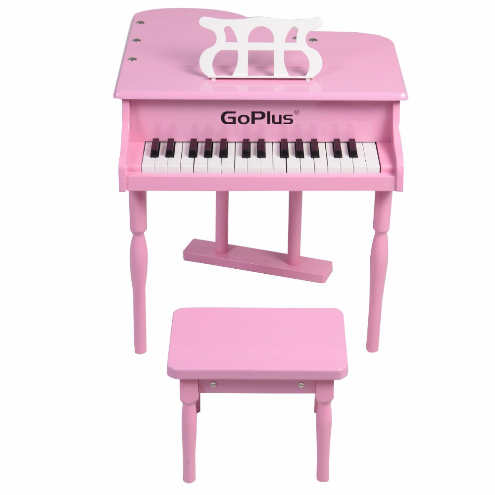 Children 30 Keys Toy Grand Baby Piano with Kids Bench Wood Black Pink Kids Pianos Toddlers Birthdays Gift