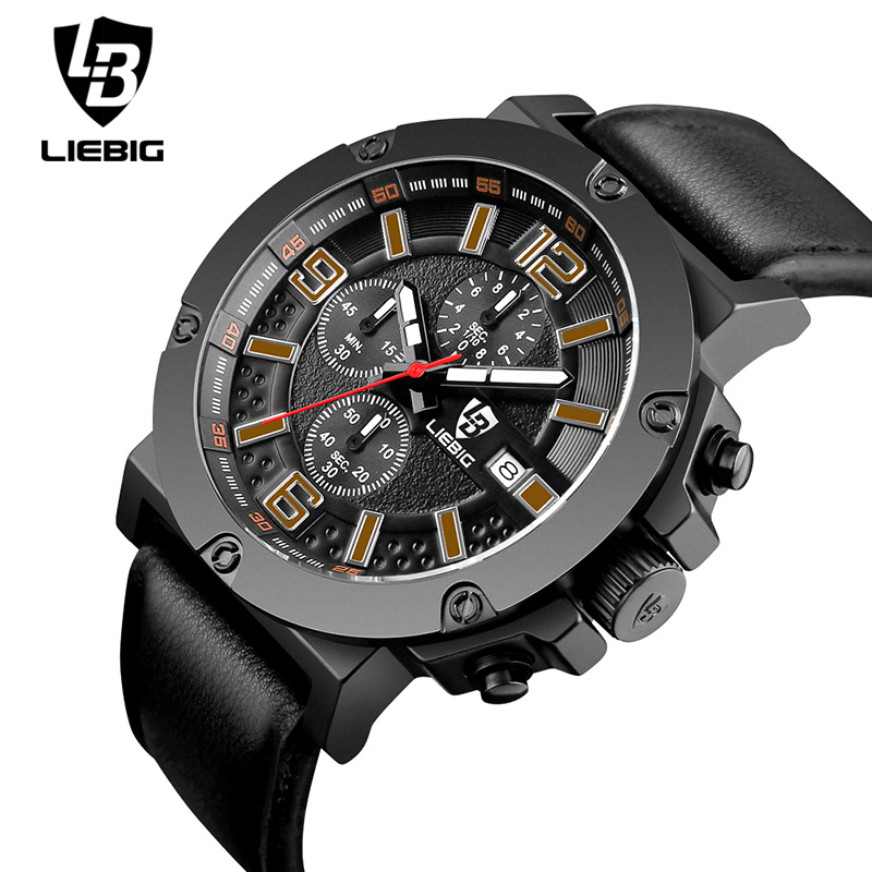 LIEBIG 1017 Men Quartz Wristwatches Military Watches Commander Series Leather Sport Watch Water Resistant Blue Relogio Masculino<br><br>Aliexpress