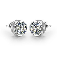 Bonzer Design 1CT/Piece Pure 18K White Gold Earrings Round Round Simulate Diamond Female Solid 18K White Gold Earrings Stud(China)