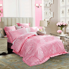 Jacquard Silk Duvet Cover Queen King Size 4pcs Pink Satin Bedding Set Luxury Bed Set Linen Bedclothes Cotton For Christmas