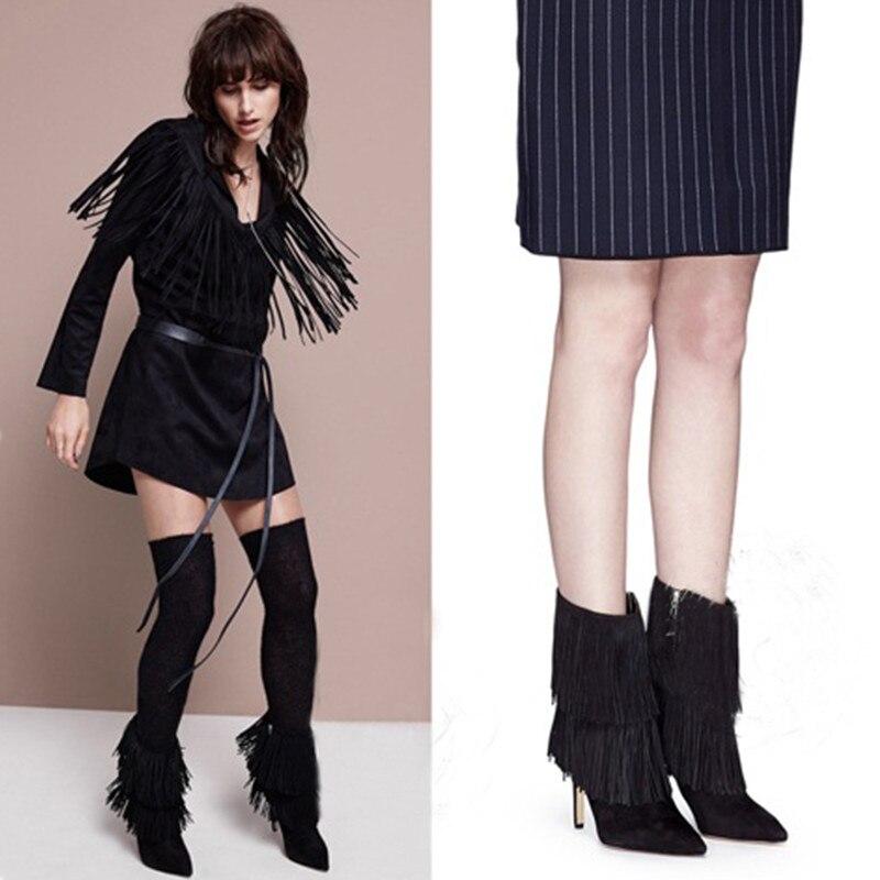 Womens Shoes Spring Autumn High Heels Pumps 2017 Shoes Euroepan Flock Tassel Ladies Shoes Short Ankle Boots Zip Black Big Size<br><br>Aliexpress