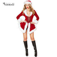 2017 New Sexy Velvet Santa costume Women's Sexy Christmas Fancy Dress Lingerie Party Red Cosplay Costume DD80760