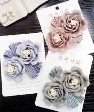 Korea Retro Weave Flowers Pearl  Side Bangs Clip Hair Accessories  Rim Hair Clips For Women Hairpin Hair Bows -4