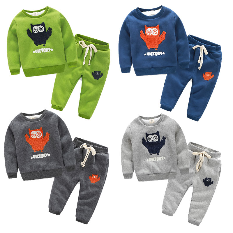 2017 baby girl boy clothing set kids sports suit long sleeves O-Neck tshirt+pants sets kids thickening sweatshirt +trousers 2pcs<br>