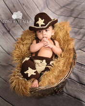 Handmade Knit Baby Cowboy Hat and Boots Set Newborn Boy Photography Props Crochet Baby Cap set