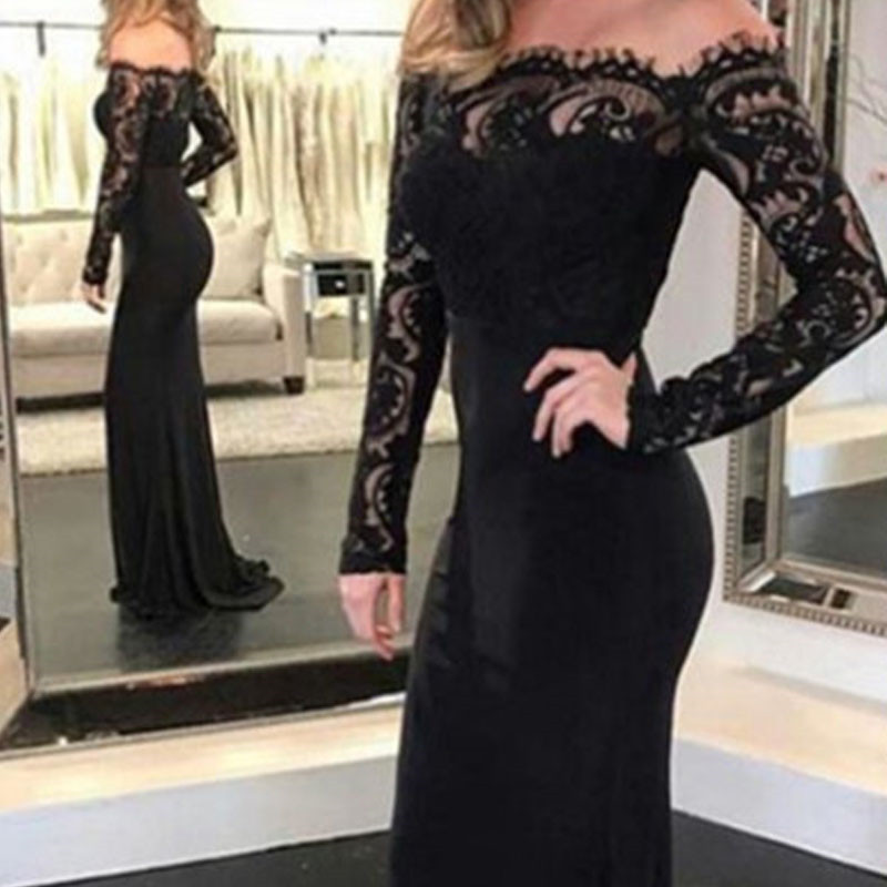 Fashion Lace Spliced Autumn Women Party Dress Sexy Slim Long Sleeve Elegant Long Maxi Dresses Women's Clothing S M L XL Xnxee 6