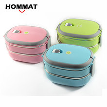 HOMMAT 2 Tier Stainless Steel Bento Lunch Boxs Japanese Insulated Thermo Lunchbox Thermal Metal Food Container Handle Portable(China)