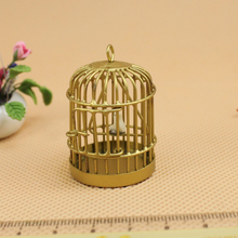 1:12 Scale Metal Bird Cage With Bird Birdcage Dollhouse Miniature Accessry Gold Tone Classic Toys Pretend Play Furniture Toys