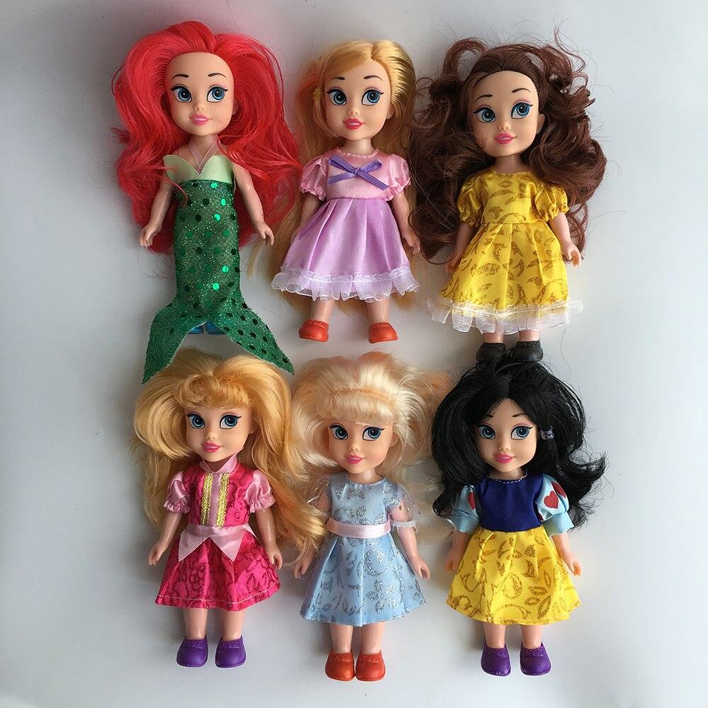 Hot Sale 6.5 Girls Gift Princess Rapunzel Aurora Belle Cinderella Doll Toy Mermaid Snow White Doll For Girls<br><br>Aliexpress