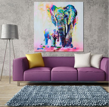 Unframed Modern Printed Colorful Elephant Mother Baby Oil Painting Picture Cuadros Decoracion Canvas Wall Art For Living Room