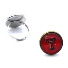 NCAA Texas Tech Red Raiders Clear Domed Glass Cabochon Cover and Brass Pad ring jewelry for DIY Portrait Ring Making