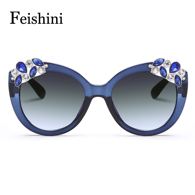 FEISHINI Wholesale Prices Latest US Popular Of Artificial Crystal Embellishment REVO HD Sunglasses Women Cat eye Vintage 2017<br><br>Aliexpress