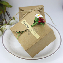 Small Square Valentines Gift Favor Retro Kraft Paper Candy Box With Flower Wedding Decoration Handmade Jewelry Packaging Boxes(China)