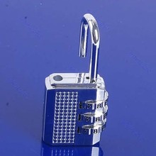Mini 3 Digit Resettable Combination Luggage Suitcase Lock Padlock Silver 17D