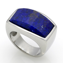 Top Quality Fashion Jewelry 316L Stainless Steel Malachite/Lapis Lazuli Natural Stone Ring For Men Birthday Gift