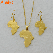 Anniyo Africa Map Jewelry set Necklace & Earrings Gold Color Map of African,Ethiopian/Nigeria/Sudan/Congo Necklace #047006