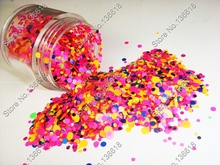10ml mix Colors NEON Round Nail glitter powder Dot Shape Paillette for UV gel Decorations & make up