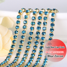 Crystals Blue Zircon crystal rhinestone chain trimming Gold Base chain DIY Sewing On Chain SS12 10 Yardsdiy decoration(China)