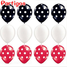 12pcs/lot Ladybug Black Red White Spot Latex Balloons Polka dot Wave point globos Mickey Minnie Birthday Party Decor Supplies(China)