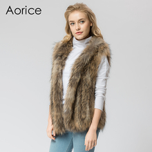 VR053   Knitted Real raccoon fur vest/ jacket /overcoat  women's fashion winter warm genuine fur vests ourwear