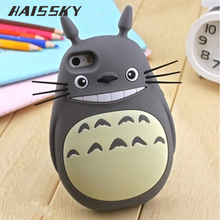 Haissky Cute Cartoon 3D My Neighbor Totoro Case For iPhone 6 6s 5 5S SE Cases Soft Silicone Back Cover Mobile Phone Case