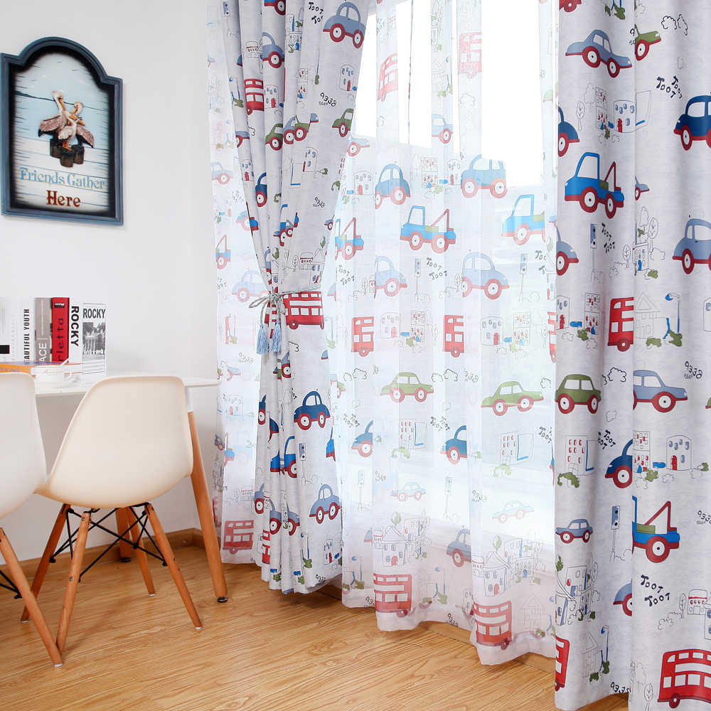 Blackout curtains for the bedroom toy car kids room curtains window blinds for boys bedroom