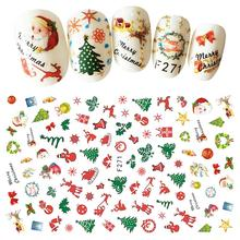 LEARNEVER 1pc Nail Sticker Christmas Old Man Bell Deer Nail Sticker New Beauty Christmas Theme Nail Stickers Happy Festival Tool(China)