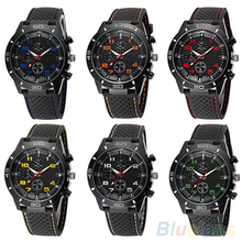 Men's Fashion Black Silicone Band Stainless Steel Sports Analog Quartz Wrist Watch 6JLO