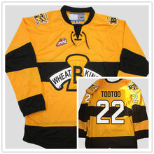 Brandon Wheat Kings #22 Jordin Tootoo Yellow Hockey Jersey Embroidery Stitched Customize any number and name Jerseys(China)