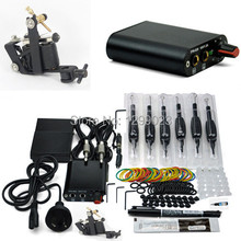 Hot sale complete Tattoo kit one tattoo gun ink  needle grip power supply accescories free shippping