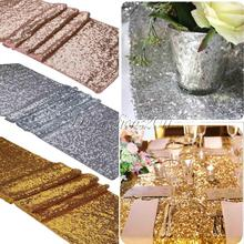 10pcs/lot 30x275cm Luxury Gold Sequin Table Runner Wedding Party Table Decoration Solid Color Gold Table Runners rose weddings(China)