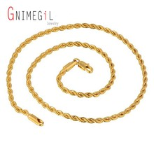 GNIMEGIL Wholesale 3~5mm & 22-30 inches Men's Jewelry Twisted Singapore Chains Necklaces 24k Gold Color Link Chain Necklace(China)