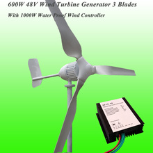 2017 New Arrival 3 Blades Rated 600W 48V Wind Generator & Rated 1KW 48V Wind Charge Controller Wind Power Generator Kit
